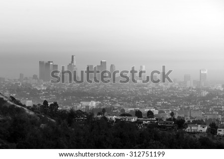 Downtown Los Angeles skyline at twilight CA. - stock photo