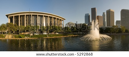 Downtown Los Angeles with fountain - stock photo