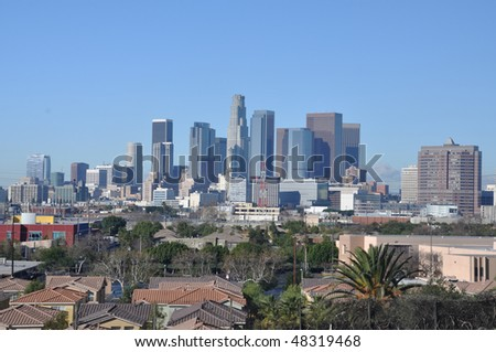Downtown Los Angeles with lowrise housing - daytime view from the East - stock photo