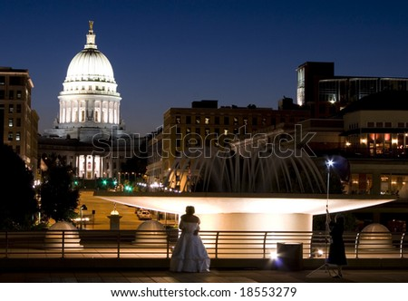 Downtown Madison from the Monona Terrace Convention Center - stock photo
