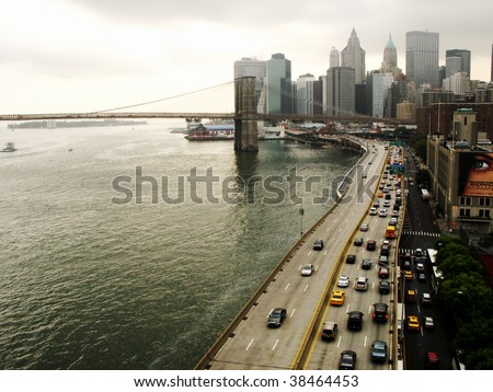 Downtown Manhattan and Brooklyn Bridge, New York - stock photo