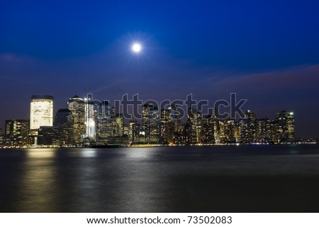 Downtown Manhattan on a fullmoon night