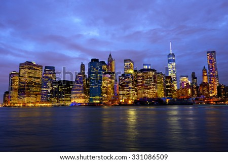Downtown Manhattan skyline at night