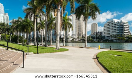 Downtown Miami along Biscayne Bay with Brickell Key in the background. - stock photo