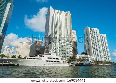 Downtown Miami along Biscayne Bay with condos and office buildings. - stock photo