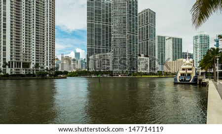 Downtown Miami along the Miami River inlet with the landmark Brickell area in the background.