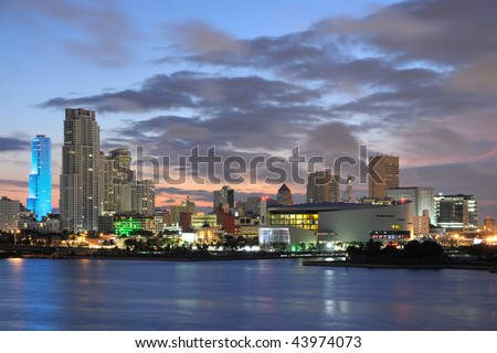Downtown Miami at dusk, Florida - stock photo