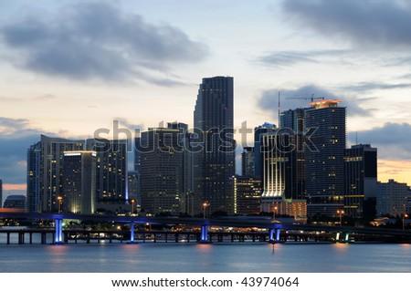 Downtown Miami at dusk, Florida USA - stock photo
