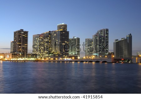 Downtown Miami at night, Florida USA - stock photo