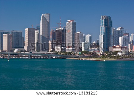 Downtown Miami Bayfront With Highrise Office Buildings, Condos and Hotels - stock photo