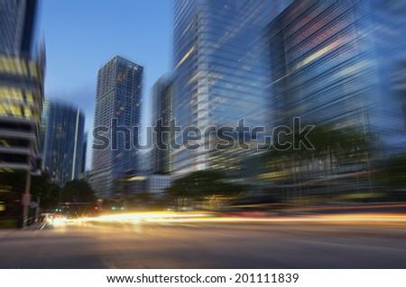 Downtown Miami Financial District Brickell motion cityscape - stock photo