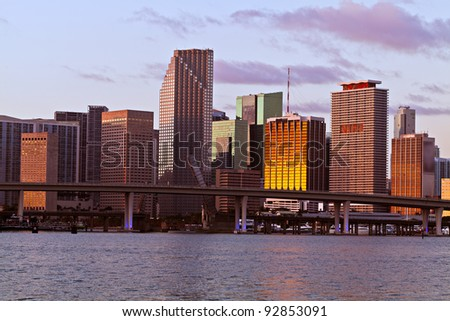 Downtown Miami, Florida office, condo and hotel buildings along Biscayne Boulevard. - stock photo