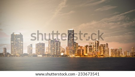 Downtown Miami Florida sunset skyline panorama with filtered desaturated instagram processing