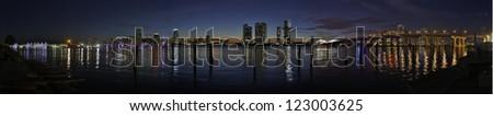 Downtown Miami hdr panorama - stock photo