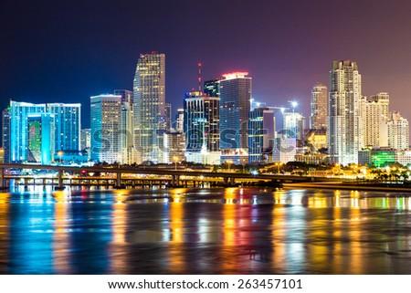 Downtown Miami, Night city - stock photo