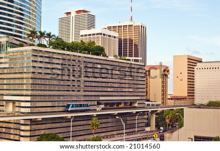 Downtown Miami Office and Residential Buildings and Mass Transit - stock photo