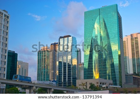 Downtown Miami Office Buildings and Public Transit