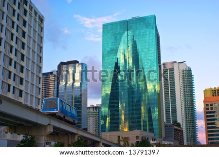 Downtown Miami Office Buildings and Public Transit - stock photo