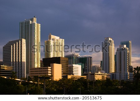 Downtown Miami Residential and Office Buildings - stock photo