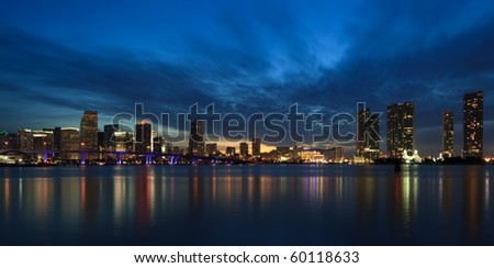 Downtown Miami Skyline and Biscayne Bay at Sunset - stock photo