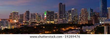 Downtown Miami Skyline Night Panorama - stock photo