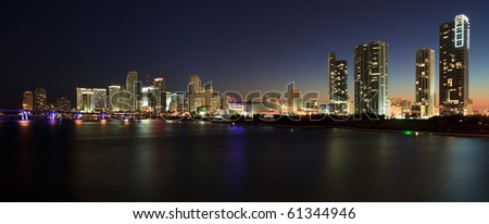 Downtown Miami Skyline Panorama. - stock photo