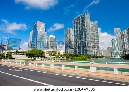 Downtown Miami skyline view from Brickell Key Bridge. - stock photo
