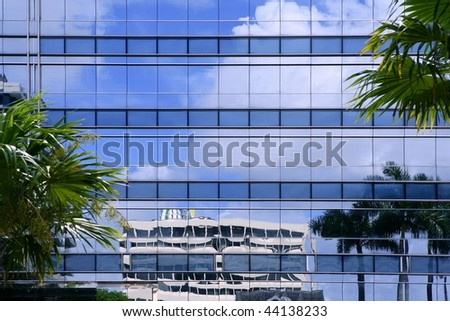 Downtown Miami urban city skyscrapers buildings landscape - stock photo