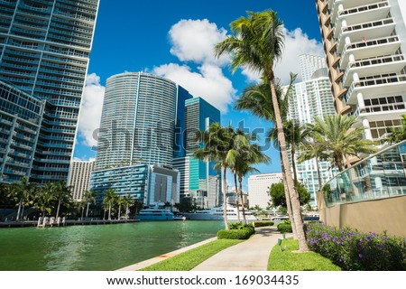 Downtown Miami view along Biscayne Bay from Brickell Key.