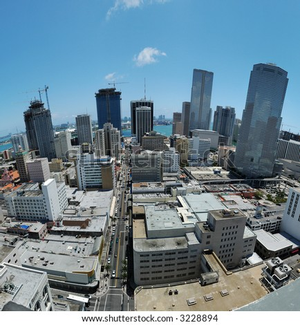 Downtown Miami - view over downtown Miami at noon - stock photo
