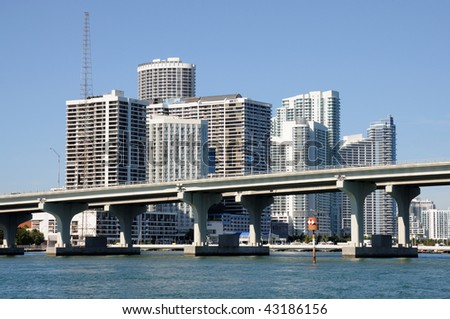 Downtown Miami with the Biscayne Bridge in foreground, Florida USA - stock photo
