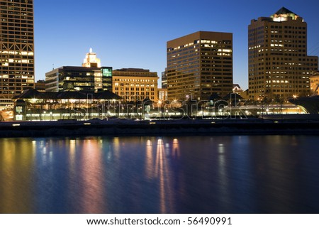 Downtown Milwaukee Buildings seen evenign time - stock photo