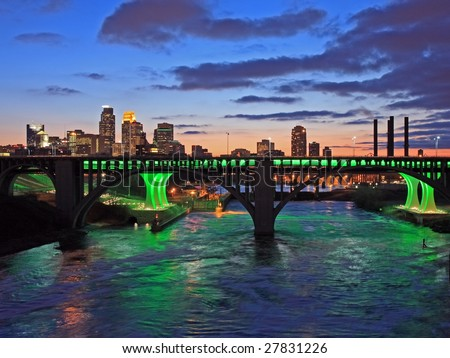 Downtown Minneapolis and Mississippi river - stock photo