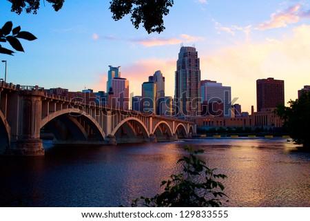 Downtown Minneapolis at Dusk - stock photo