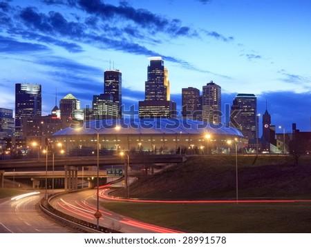 Downtown Minneapolis at night - stock photo