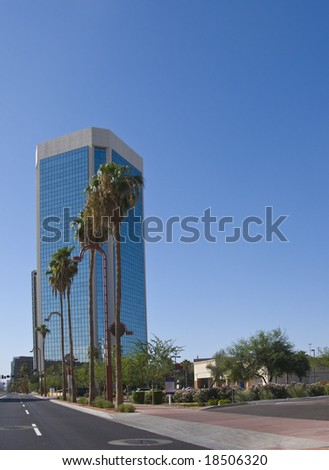 Downtown Modern Office Skyscraper, Phoenix, AZ - stock photo