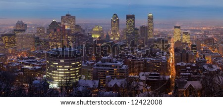 Downtown Montreal from Mount Royal at dusk