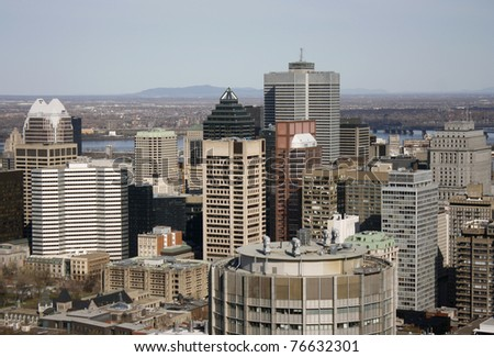 Downtown Montreal viewed from a higher lookout - stock photo