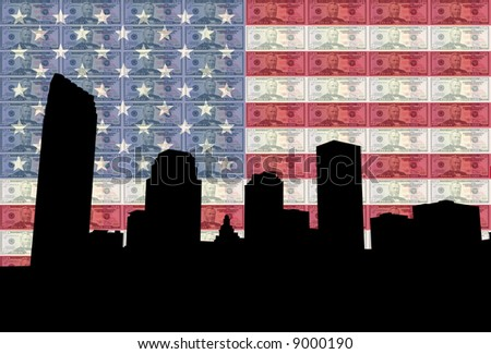 downtown New Orleans skyline with American flag and fifty dollar bills - stock photo