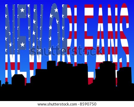 Downtown New Orleans skyline with American flag text JPG - stock photo