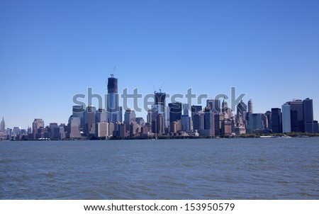 Downtown New York City Skyline on a beautiful day