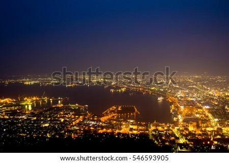 Downtown nightscene from mountain view in Hakodate, Japan