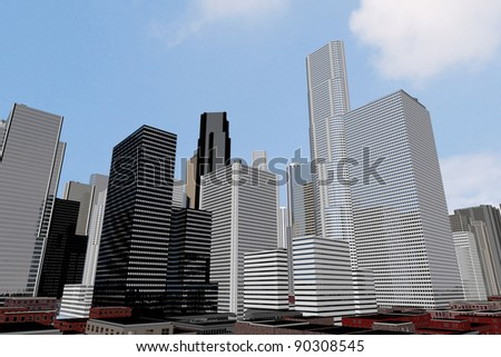 Downtown of a capital city with many skycrapers and sky with clouds