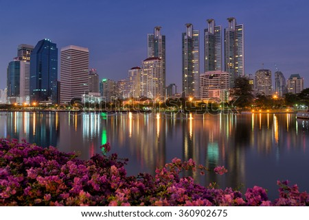 Downtown of Bangkok city at twilight scene.