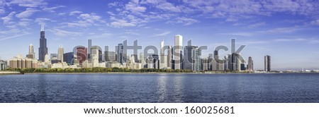 Downtown of Chicago morning panorama, fall scenery - stock photo