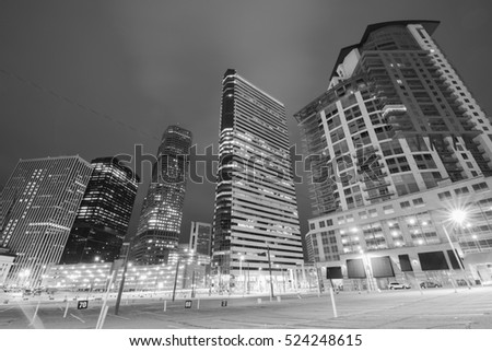 Downtown of Denver in the Night in black and white