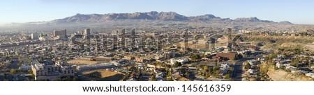 Downtown of El Paso Texas looking toward Juarez, Mexico - stock photo