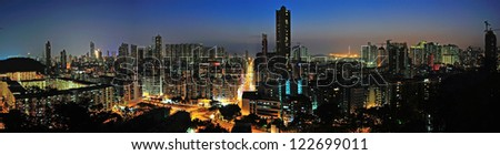 Downtown of Hong Kong, high density, poor area. - stock photo