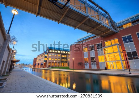 Downtown of Indianapolis by Indiana Central Canal area - stock photo
