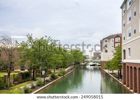 Downtown of Indianapolis by Indiana Central Canal, Indiana, USA - stock photo